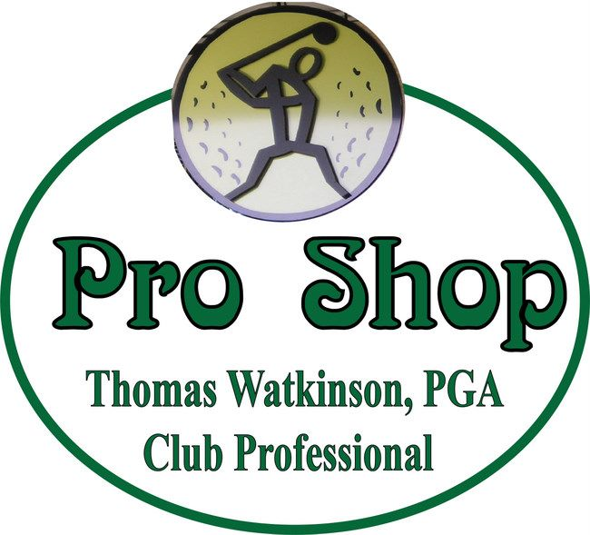 E14210 - Carved Pro Shop Sign with Golfer and Golf Ball