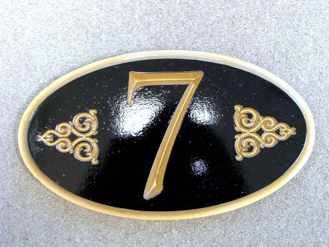 I18857 - Elegant Black & Gold Address Number Wall Plaque