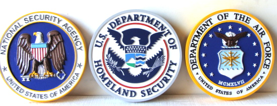 V31193 - 3D Carved HDU  NSA. Homeland Security, and Air Force Wall Plaques