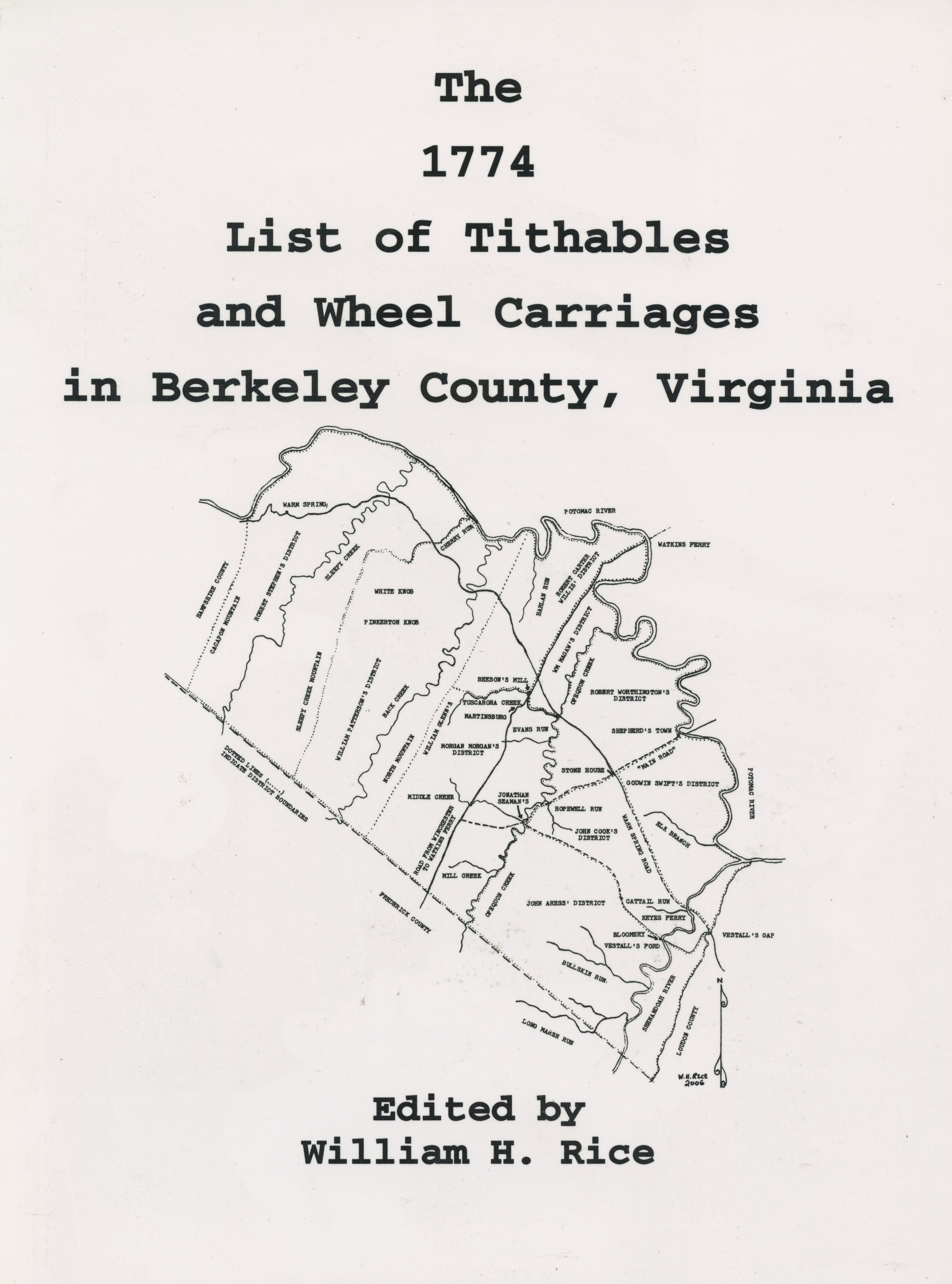 The 1774 List of Tithables and Wheel Carriages in Berkeley County, Virginia