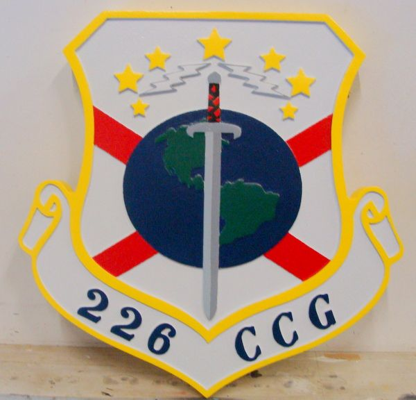 LP-4040 - Carved Shield Plaque of the Crest of the 226th Combat Communications Group, Artist Painted
