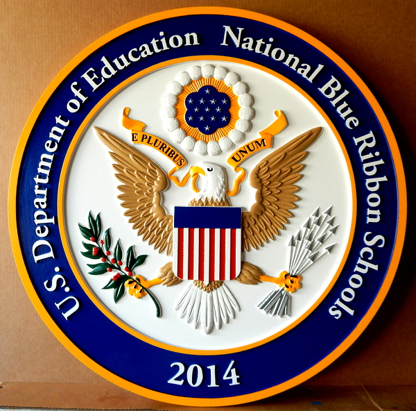 TP-1300 - Carved Wall Plaque of the Seal  of a National Blue Ribbon  School,  Artist Painted