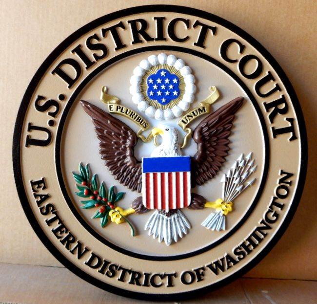 A10816 - Carved 3D Hand-Painted Full Color Wall Plaque of the Great Seal of US District Court, Eastern Wahington ( Official Colors)