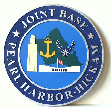 IP-1940 - Carved Plaque of the Seal of the Joint Base, Pearl Harbor- Hickam,  Artist Painted