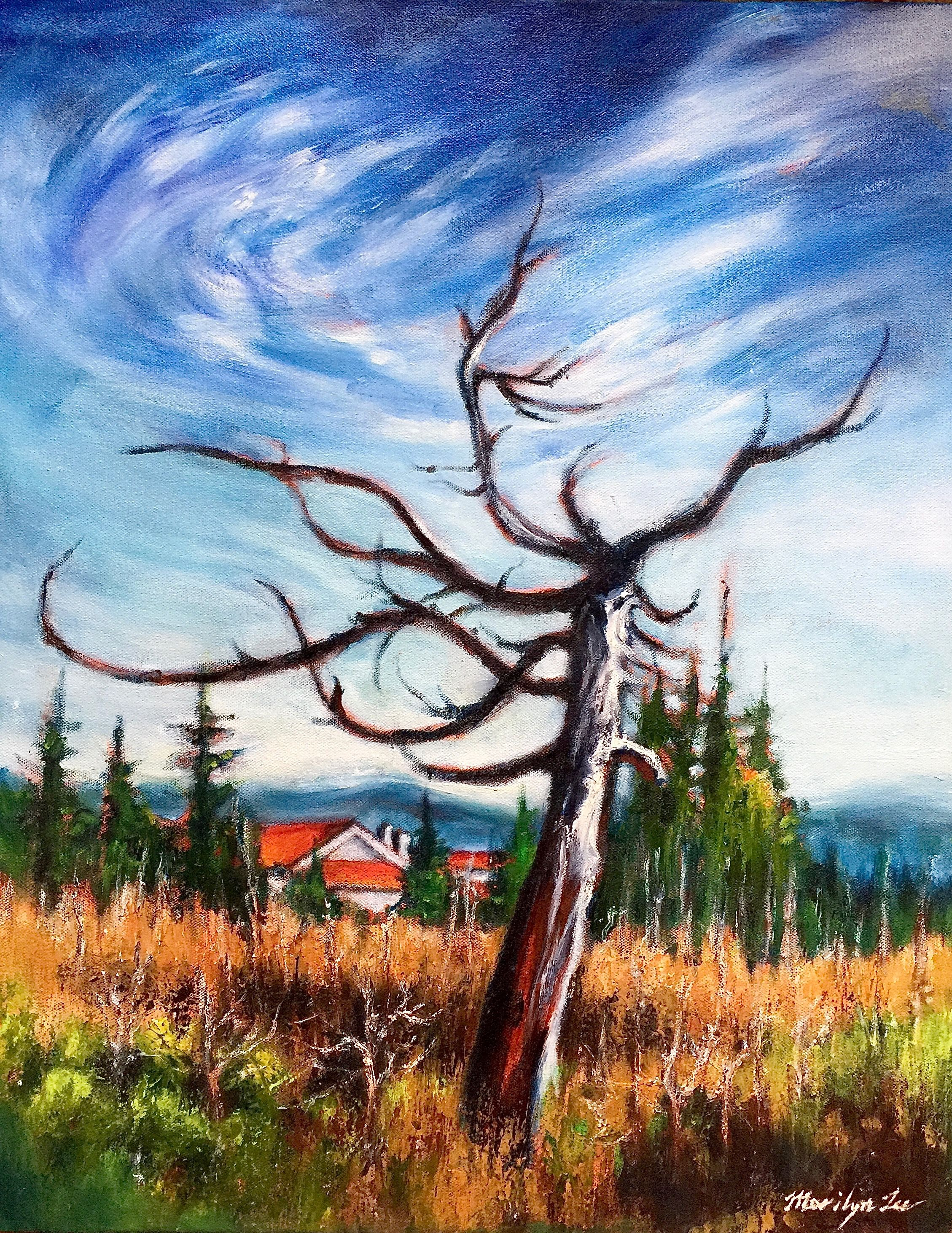 "Marilyn Lee - ""Bull Pine Snag, Muskeg by Point Higgins School I"""