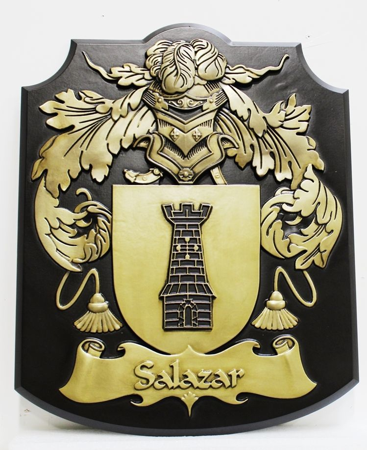 XP-1022 - Card 3-d Brass-Plated HDU Wall Plaque of the Salazar Family Coat-of-Arms with a Helmet, a Shield with a Castle Tower, and Flourishes