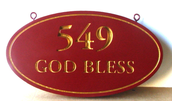 "I18862 - Engraved Property Address Number ""God Bless"", with 24K Gold Leaf on Text and Border"
