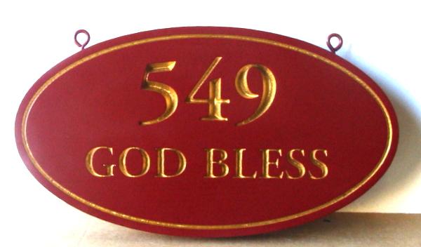 "I18877 - Engraved Property Address Number ""God Bless"", with 24K Gold Leaf on Text and Border"