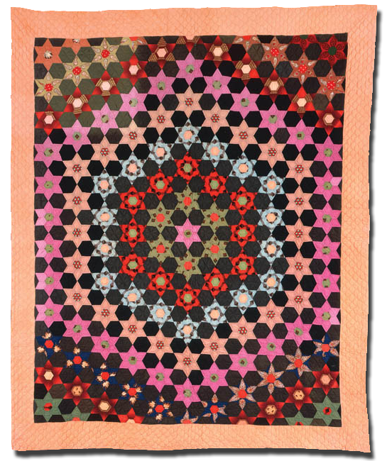 Hexagon Star, Maker unknown, Possibly made in Kentucky, United States, Circa 1860-1880, 81 x 68 in, IQSC 1997.007.0178