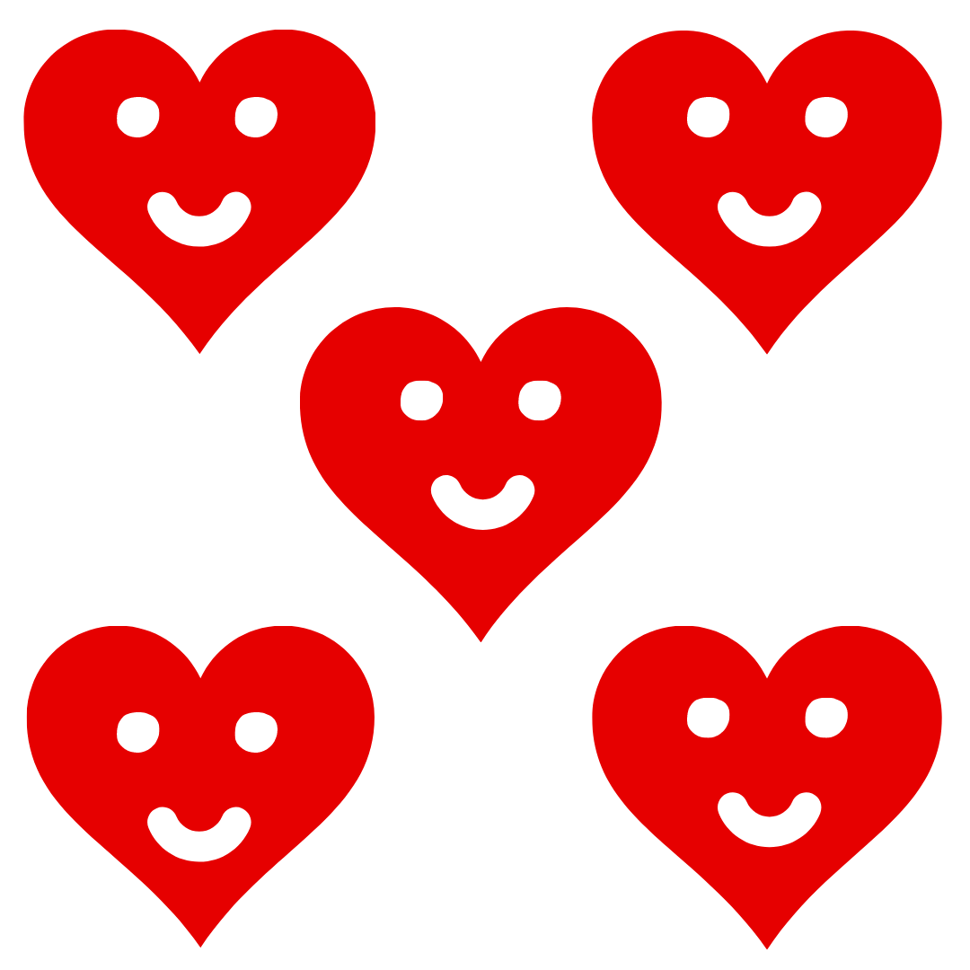 Valentines Heart Smiles (Pack of 5)