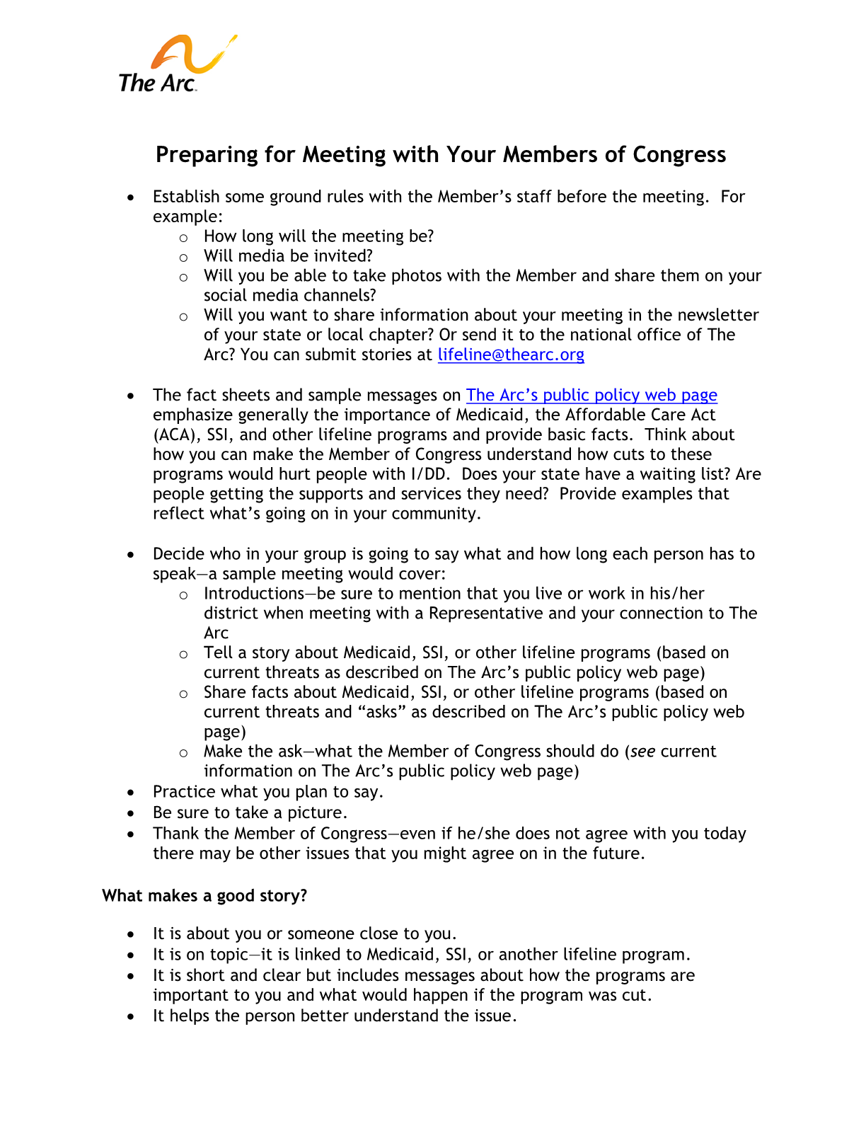 Preparing for Meetings with Members of Congress