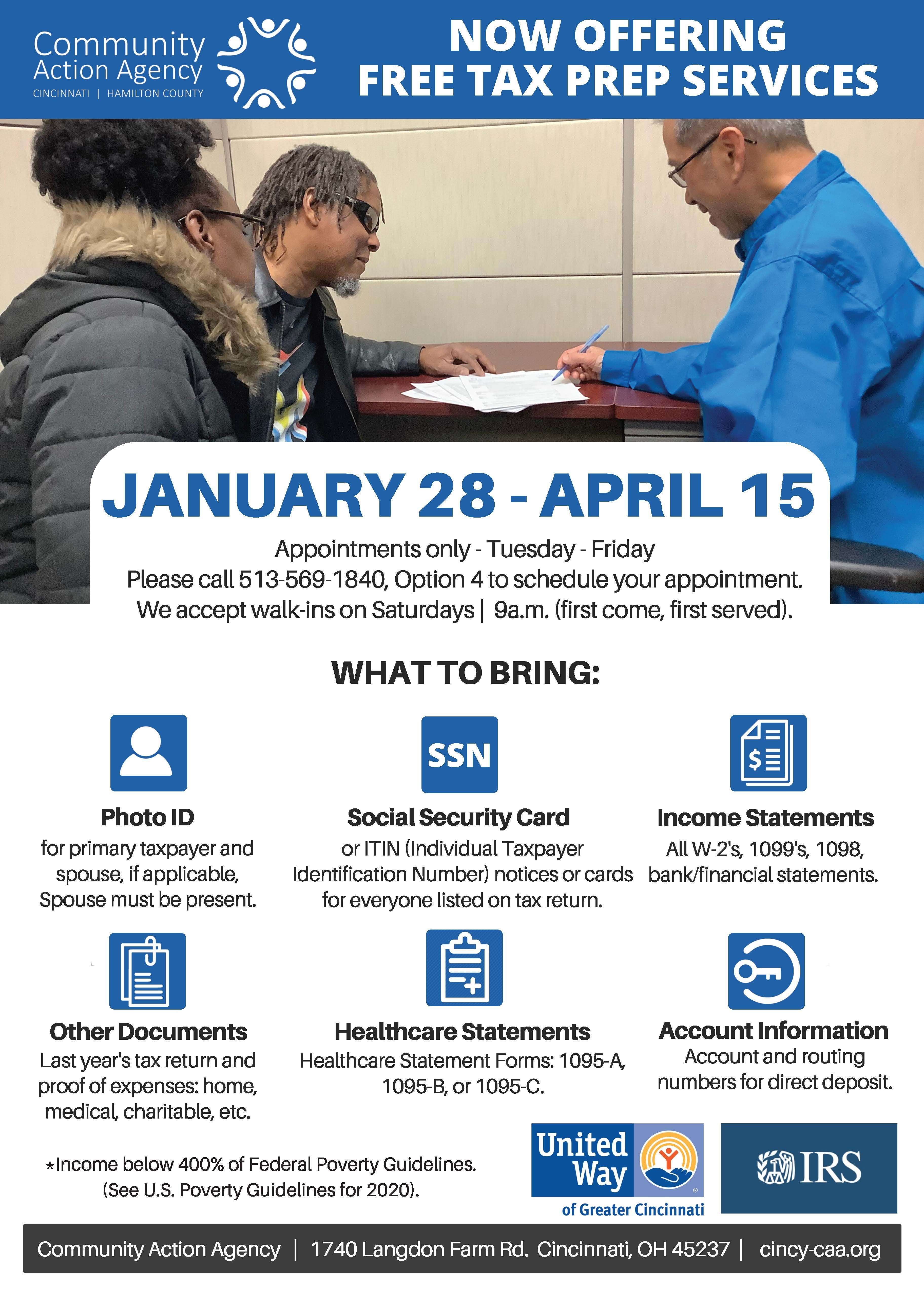 FREE Tax Prep Services at Your Community Action Agency