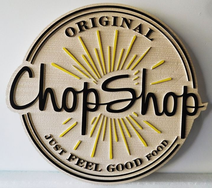 "Q25054 - Carved Sign for the ""Chop Shop""  Restaurant, with Logo as Artwork"
