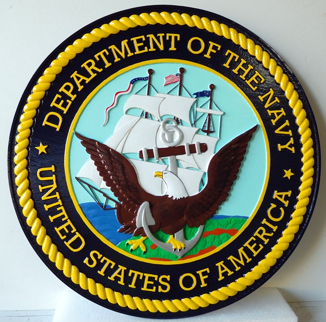 DG405 - Carved Custom  Round Wall Plaque of the  Seal of the United States Navy - $395