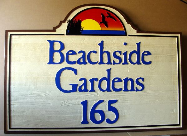 L21234 - Carved and Sandblasted Cedar Wood Address Sign for Beachside Gardens, with Gulls and Sunset