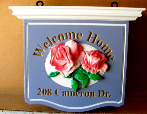 I18210 -  Welcome Home Sign,with Carved Roses and Engraved Metallic Gold Painted Text