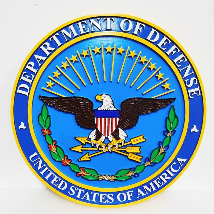 IP-1030 - Carved Plaque of the Great Seal of the Department of Defense, 2.5-D Outline Relief, Artist-painted