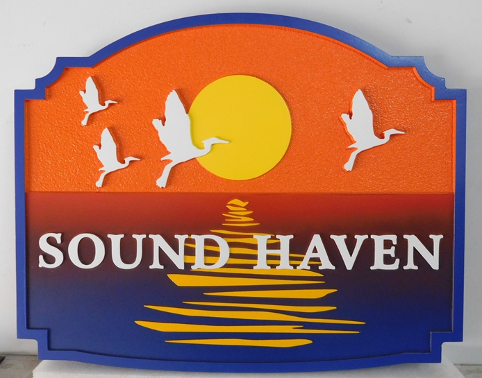 "L21213 - Seashore Home Property Name Sign  ""Sound Haven""  with Setting Sun and Seagulls"