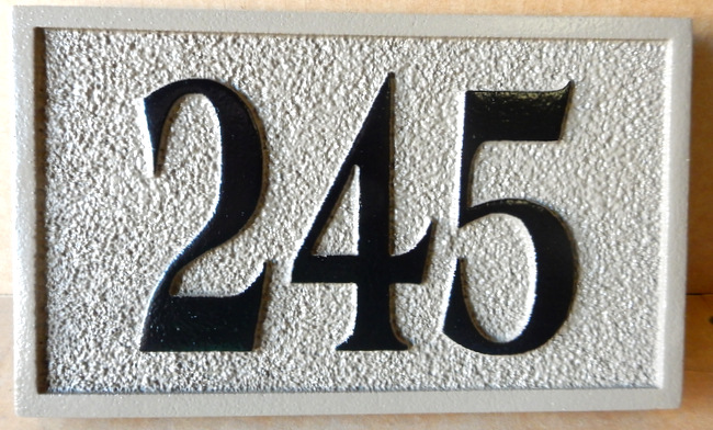 KA20912 - Sandblasted Sandstone Texture HDU Sign for Apartment Number or House Number