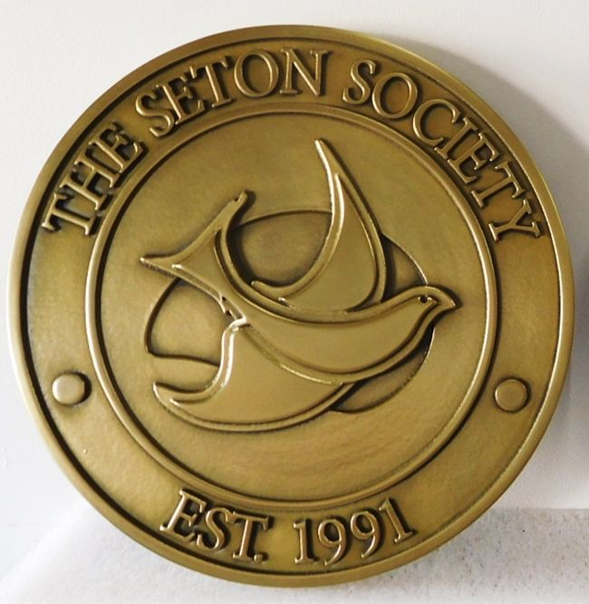 UP -1190 - Carved Wall Plaque of the Seal of the Seton Society, Brass Plated