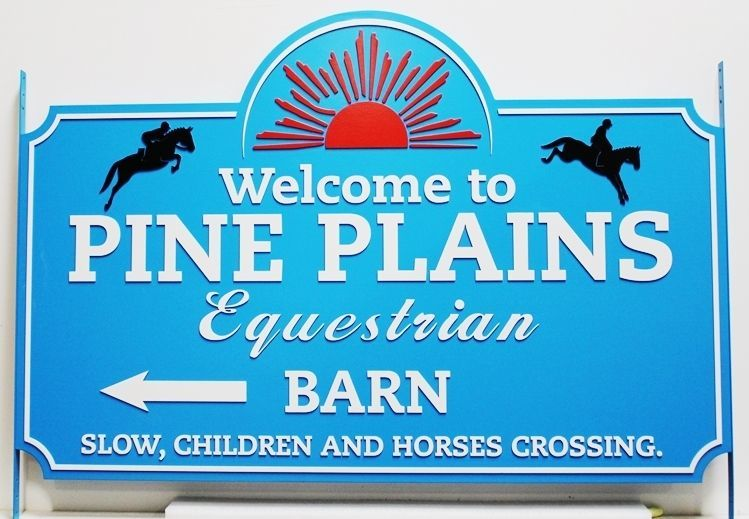 """P25316 - Carved HDU Sign for """"Pine Plains Equestrian"""" features the Silhouettes of Two Jumping Horses and Riders as Artwork."""