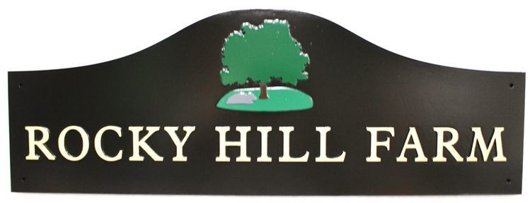 """O24895 - Carved HDUSign for """"Rocky Hill Farm"""", with a Tree and Rock as Artwork"""