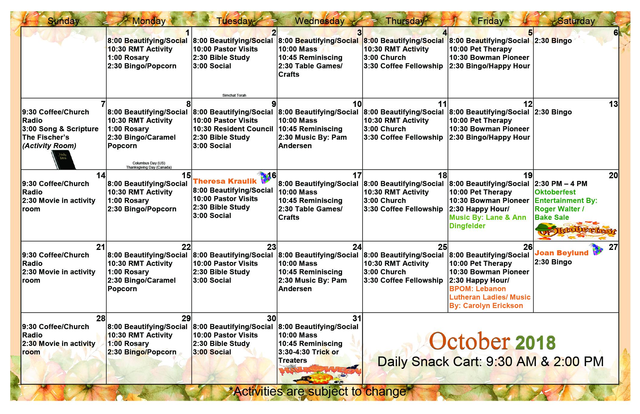October 2018 Event Calendar
