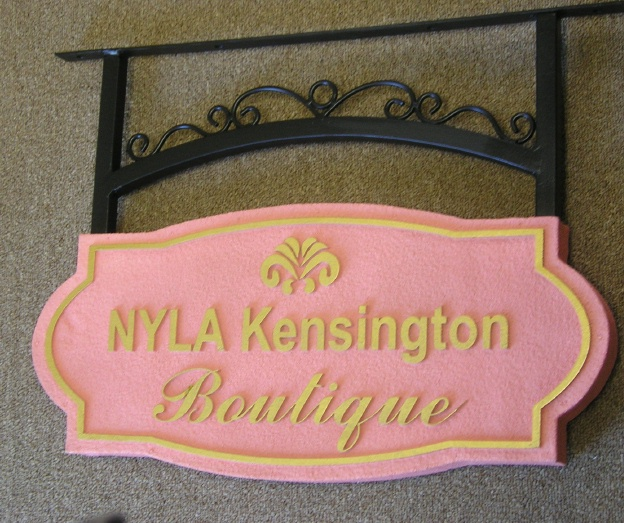 SA28365 - Sandstone-Texture  Sign for Kensington  Boutique with Fleur-de-Lis and Scroll Bracket