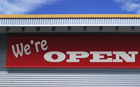 """Printed Banner """"we're open"""""""