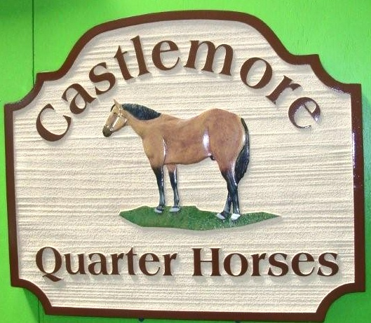 "P25120 - Sandblasted (Wood Grain) HDU ""Castlemoor Quarter Horse "" Ranch Sign with Carved 3D Quarterhorse in Profile"