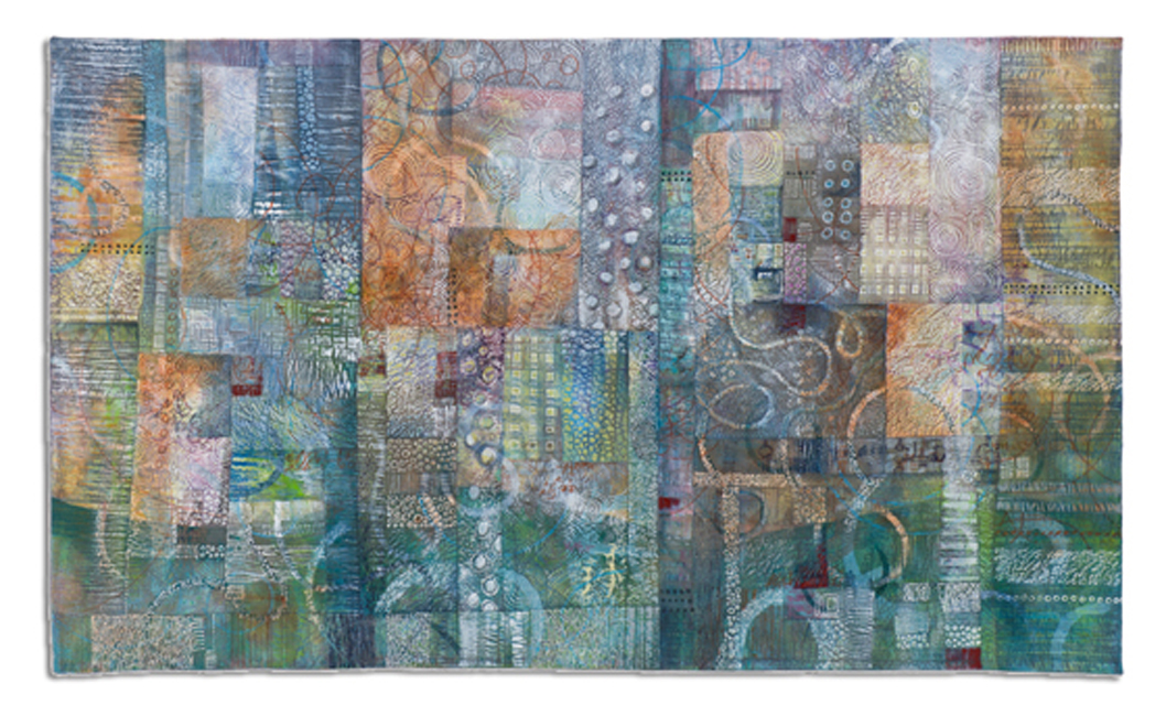 'Façade VIII,'  made by Deidre Adams, made in Colorado, 2008, painted, machine pieced and quilted, 39 x 66""