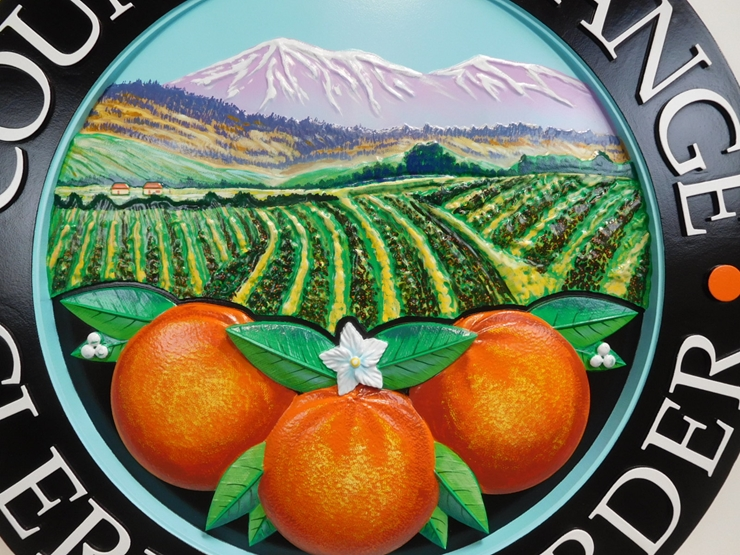 CP-1410 - Carved Plaque of the Seal of Orange County, California, Artist Painted ( Close-Up View of 3-D Artwork)