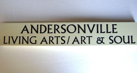 """SA28477 - Carved Business Sign,  """"Living Arts/Art and Soul"""""""