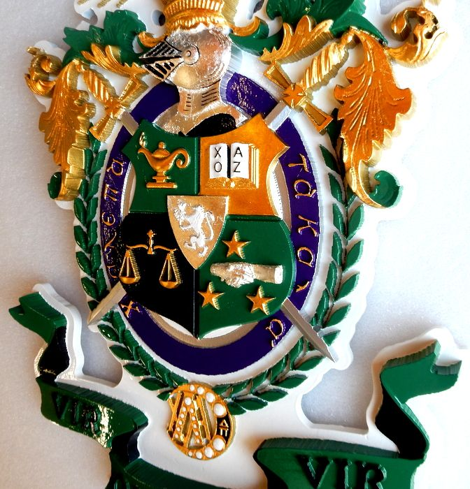 N23351 -  Carved 3-D Hand-painted and 24K Gold-leaf gilded Wall Plaque featuring the Coat-of-Arms of the Fraternity of Lambda Chi Alpha