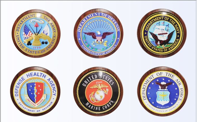 EA-2061 - Seals of the Department of Defense and the Five Armed Force Services (the Navy, Army, Air Force, Marine Corps, and the Coast Guard) , on Mahogany Plaques