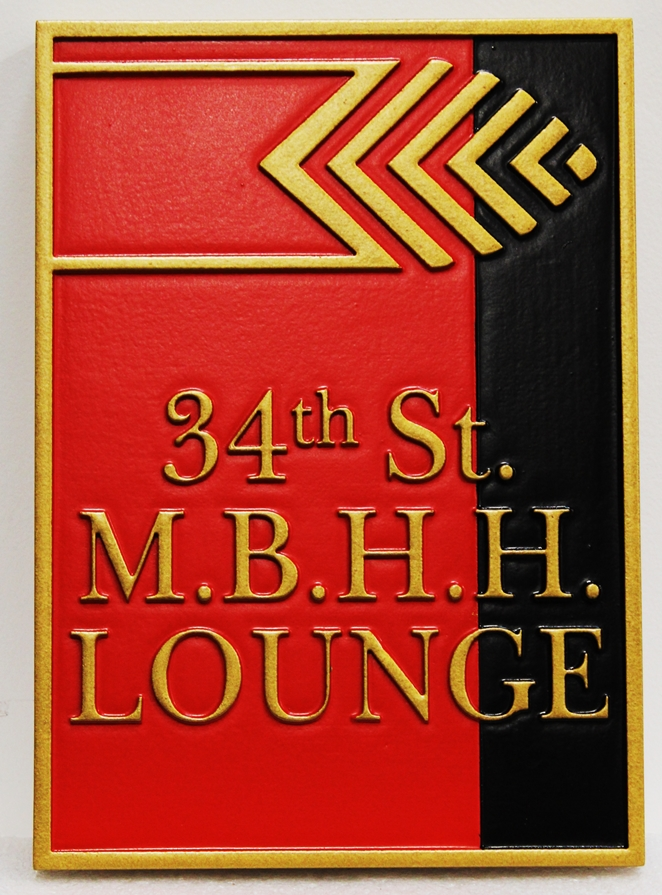 "RB27104 - Carved Sign for the ""34th St. M.B.H.H. Lounge"""