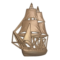 L22056 - 3-D Wood Carving of Square-Rigged Ship for Sign or Plaque