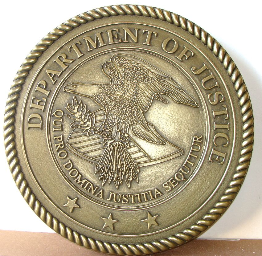 AP-2360 - Carved Plaque of the Seal of the US Department of Justice, 2.5-D outline Relief Brass Plated