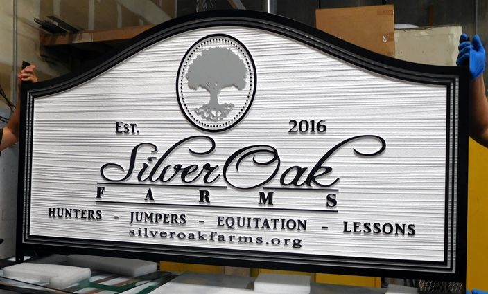 P25079 - Carved  and Sandblasted HDU Sign for Silver Oak Farms Equestrian Center, with Silver Oak Tree as Artwork