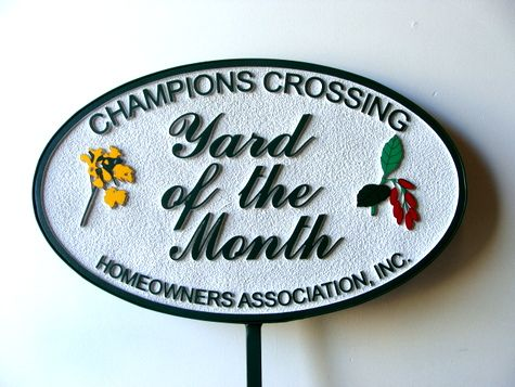"KA20932 - Carved and Sandblasted Yard-of-the-Month Sign for ""Champions Crossing"" HOA, with Iron Frame and Stake"