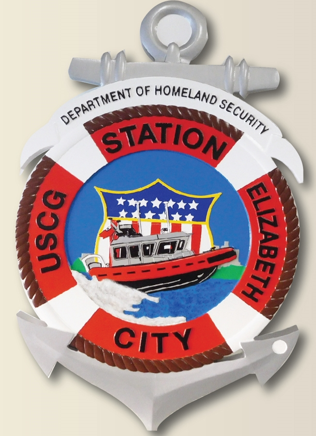 NP-2090- Carved Plaque  of Seal of US Coast Guard Station in Elizabeth City,  Artist Painted