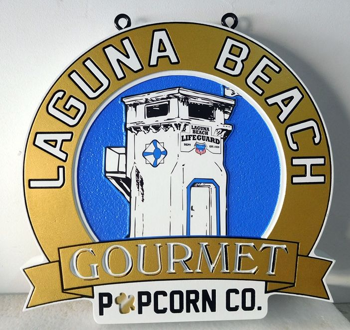 SA28354 - Carved, Engraved and Sandblasted Hanging Sign for sign  for the Laguna Beach Popcorn Company