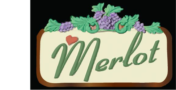 R27121 - Carved Grape Varietal Wine Name  Sign for Wine Shop