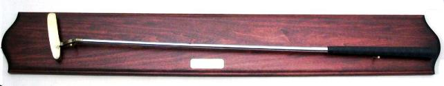 HG804 - Mahogany Plaque with Mounted Golf Club and Brass Inscription Plate - $220