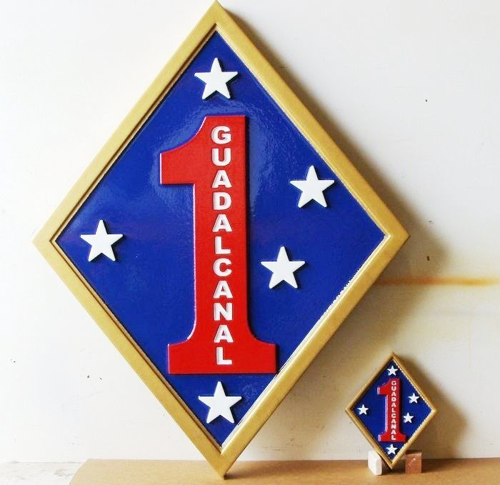KP-2040 -  Carved Plaques of  the Insignia/Shoulder Patch  of the First Marine Division, Artist Painted