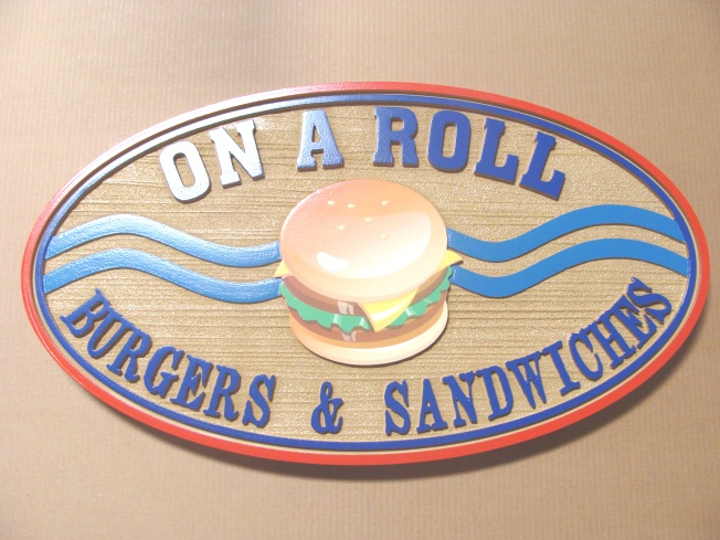 Q25530 - Burger, Cafeteria Interior Hanging Sign