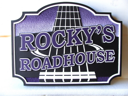 "RB27117 - Carved HDU Roadhouse Sign with Guitar, ""Rocky's Roadhouse"""