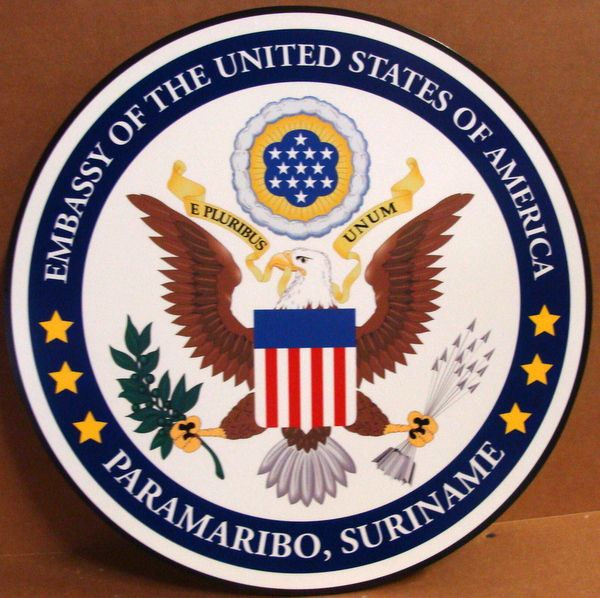 U30325 - Carved 3-D HDU Wall Plaque for the Seal of the US Embassy, Suriname