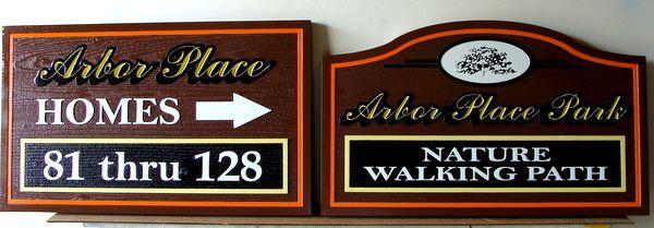 KA20594 - Carved Cedar Unit Number Wayfinding Sign and Nature Path Sign
