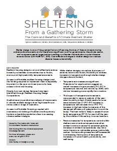 Sheltering Dissemination Event Key Points